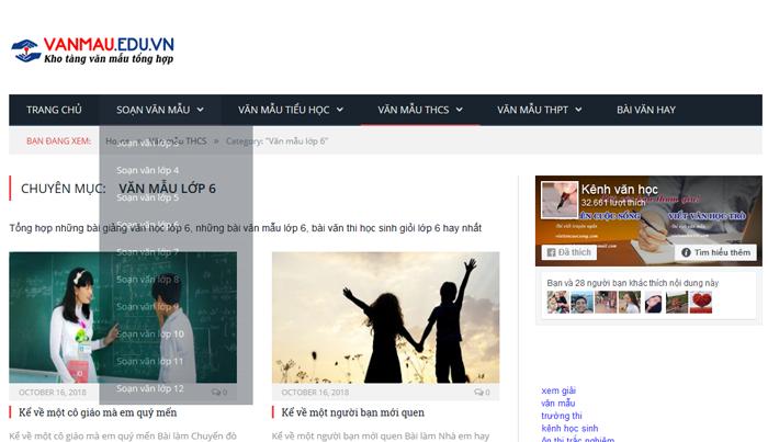 top 10 website nhung bai van mau hay lop 6 moi nhat 2 - Top 10 website những bài văn mẫu hay lớp 6 mới nhất